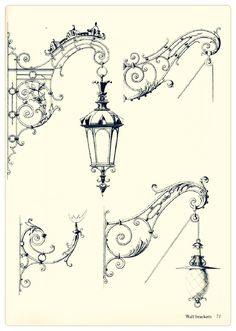 orn70075 (499x700, 156Kb) Architecture Details, Architecture Art, Metal Projects, Metal Crafts, Images Vintage, Iron Art, Street Lamp, Blacksmithing, Metal Art