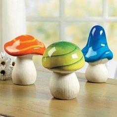 colorful garden mushrooms