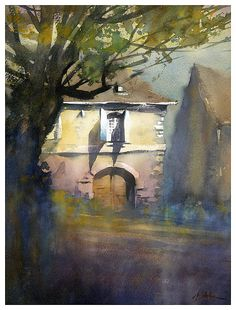 fading light - france by Thomas  W. Schaller Watercolor ~ 17 inches x 11 inches