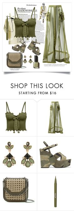 """khaki Babe"" by rpsounos ❤ liked on Polyvore featuring Puma, Balmain, Accessorize, Yves Saint Laurent, STELLA McCARTNEY and Stila"