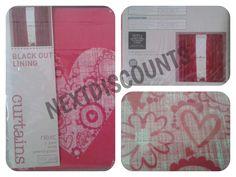 """Next Pink Doodle Heart Pencil Pleat Blackout Curtains 168x137cm (66""""x54"""") New"""