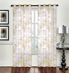 Creative Home Textiles Fl Pattern Grommet Sheer Window Panel Curtain D Treatment 2 Pack Wide By Long Yellow Check Out This Great Product