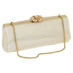 Women's Whiting & Davis 'Crystal Flower' Metal Mesh Clutch (€205) ❤ liked on Polyvore featuring bags, handbags, clutches, frames & background, glitter, pearl, white clutches, metal purse, flower purse and crystal clutches