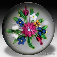 Important antique Saint Louis dahlia and fuchsias bouquet glass paperweight. by  Saint Louis Antique