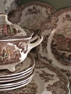 old English transferware- my Gram had this exact set, gave it to my Daddy, he passed away, now stepmother has it! :( goodbye transferware!