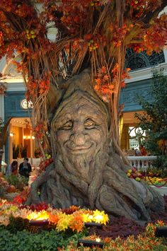 Bellagio Gardens in the Fall Fall at the Bellagio's Conservatory . - Bellagio Gardens in the Fall Fall at the Bellagio's Conservatory & Botanical Gardens greets you with a… Bellagio Conservatory, Tree Faces, Tree Carving, Green Man, Autumn Trees, Autumn Fall, Autumn Leaves, Tree Art, Fall Halloween