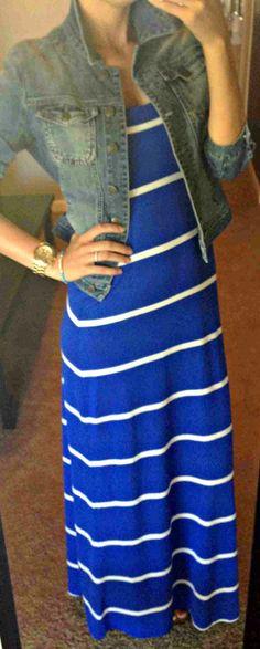 Blue striped dress with denim jacket