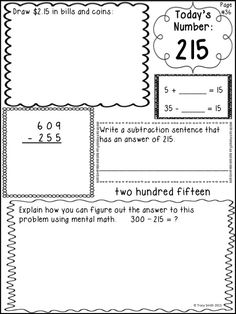NUMBER SENSE! Set #3 - Grade 2 Start your math lesson off with NUMBER OF THE DAY! Even/Odd, Place, Value, Partition rectangles, computation, and MORE!
