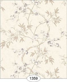 Wallpaper - Japanese Dogwood Vine - Ivory [WAL1359] - $0.00 : itsy bitsy mini, Wholesale & Retail Dollhouse Wallpaper & Accessories