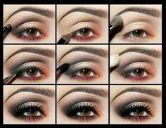 Orange red brown smokey eye makeup