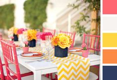 Saturated coral and yellow color palette | Color Palette Inspiration | blog.theknot.com