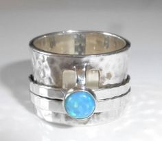 Silpada R0897 Size 6 Blue Opal Band Spinner Ring 925 Sterling Silver Retired