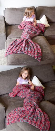 crochet mermaid blankets, mermaid blankets for kids, red-blue mermaid blankets, sleeping bags