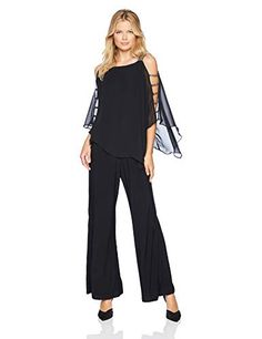 ccc8cd30f9ab MSK Women s Silver Bar Sleeve Wide Leg Jumpsuit with Chiffon Overlay