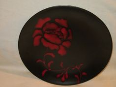Red Rose dinner plates for rent at La Table Fatale