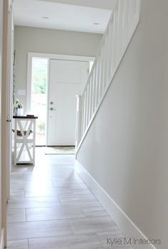 Benjamin Moore Edgecomb Gray is a great greige or gray paint color to lighten and brighten a dark hallway or room by Kylie M Interiors