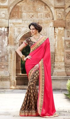 Envelope yourself in a plethora of eternal bliss with this brown and red shade georgette half n half sari. The moti, resham and stones work appears to be chic and perfect for any affair. #DesignerSareeCollection