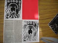 great idea for styrofoam prints - 3rd grade. I'd love to see it printed on the newspaper too, or a book page.