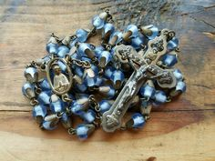 Antique Vintage Rosary Blue Cased Glass Beads by PeaceOfThePast