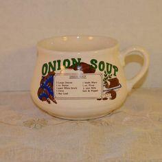 Onion Soup Recipe Bowl Vintage Soup Mug by ShellysSelectSalvage