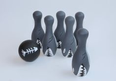 Wooden Bowling Set Shark Bowling Waldorf Toy by RogueWoodDesigns, $34.00