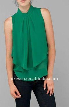 Sin mangas capa blusa de gasa, las mujeres blusa de moda diseños 2012-Blusas Mujer-Identificación del producto:484289327-spanish.alibaba.com