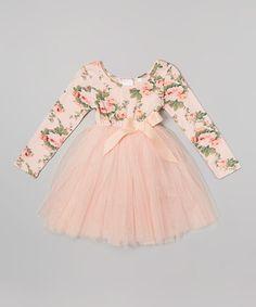 Loving this Peach Floral Long-Sleeve Tutu Dress - Infant & Toddler