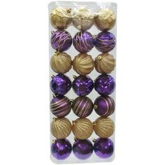 Holiday Time Christmas Ornaments Traditional 70mm Shatterproof, Set of 21, Purple / Gold
