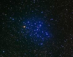 "Butterfly Cluster (M6 / NGC 6405). Bright open star cluster in the constellation Scorpius. Its popular name reflects the butterfly shape you can see in this picture. About eighty stars have been identified, but the cluster probably has over three hundred, mostly hot blue stars.  (Image Credit: N.A.Sharp, Mark Hanna, REU program/NOAO/AURA/NSF) Mona Evans, ""Scorpius the Scorpion"", http://www.bellaonline.com/articles/art301069.asp"