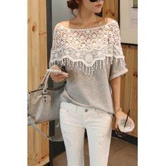 EUR8.16Bateau Neck Half Sleeve Pierced Gray Cotton T-shirt