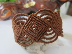 Brown Macrame Wristband Bracelet by PapachoCreations on Etsy