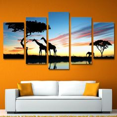 Modern Painting On Canvas Home Decor Dusk View 5 Piece/Pcs Wild Giraffe Posters Frame Living Room Wall Art Pictures HD Printed 5 Piece Canvas Art, Canvas Wall Art, Wall Art Prints, Canvas Canvas, Wall Art Pictures, Canvas Pictures, Images Murales, Images D'art, Giraffes