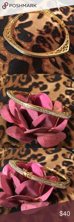 Gold over silver hinged bracelet Beautiful filigree design. Gold over silver with diamond accent. Gentle wear condition. Jewelry Bracelets