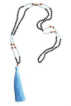 AQUAMARINE LAVA & MALA TASSEL NECKLACE #necklaces #hongkong #singapore  #malaysia  #handmadejewelry
