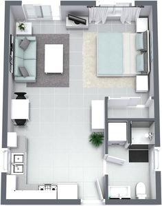 Granny pods layout The Santa Cruz - Granny Flat Small Apartment Layout, Studio Apartment Floor Plans, Studio Apartment Layout, Small Apartment Interior, Apartment Decorating On A Budget, Apartment Plans, Apartment Design, House Floor Design, Sims 4 House Design