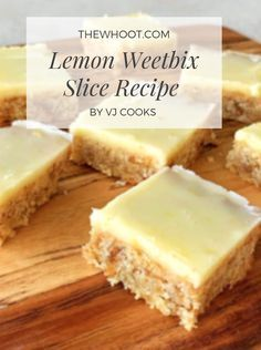 Weetabix Recipes Lemon Weetbix Slice Recipe Is Delicious - Weetabix Recipes Lemon Weetbix Slice Recipe Is Scrumptious This recipe yields 24 slices and based mostly on Vanya, it's 10 minutes prep and Weetabix Recipes, Weetabix Cake, Tray Bake Recipes, Baking Recipes, Dessert Recipes, No Cook Recipes, Lunch Box Recipes, Dessert Food, Baking Ideas