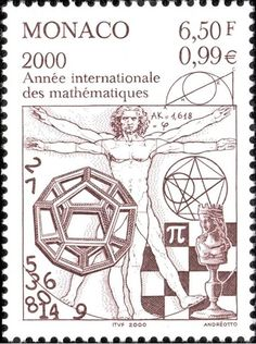 Vitruvian Man: Monaco Postage Stamp | International Year of Mathematics (September 4, 2000)