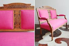 Chairloom antique Eastlake settee, reupholstered in Maxwell Fabrics's Gig Harbor in Fuschia.