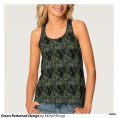 Green Patterned Design Tank Top