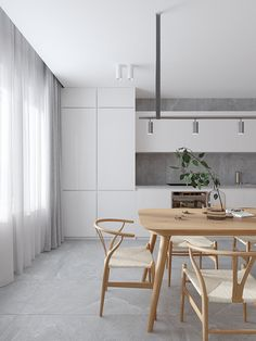 Apartment Interior, Kitchen Interior, Kitchen Design, Minimalist Kitchen, Minimalist Interior, Wooden Dining Tables, Dining Room Table, Lets Stay Home, Interior Design