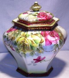 GORGEOUS HP LARGE ANTIQUE NIPPON ROSES BISCUIT CRACKER JAR - MAPLE LEAF MARK | eBay