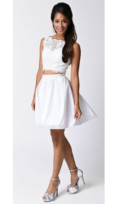 White Floral Lace Two Piece Dress