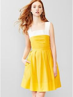 $59.95 @ Gap: Is yellow one of your wedding colors? Are you having a barn or picnic wedding? May I introduce you to the fit and flare that is 100% cotton and available in Tall and Petite and up to size 20! (fit and flare sundress)