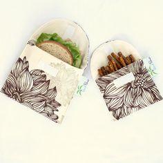 Sandwich bio et sacs de collation, réutilisable, éco - lot de 2 - retour à l'école--Evelyn & Janette brun fleurs