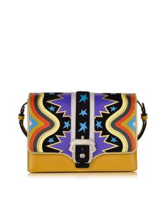 Paula Cademartori Tatiana Intarsio Big Bang Ocher Leather and Suede Shoulder Bag at FORZIERI
