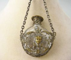 Antique Egyptian Revival Silver Crystal Chatelaine Perfume Bottle
