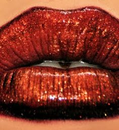 Gold and Red Lips