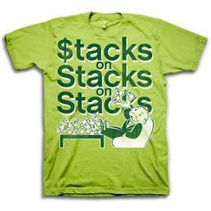 Men's Monopoly Money Stacks Graphic Tee Monopoly Man, Money Stacks, Cool Shirts, Pop Culture, Graphic Tees, Walmart, Mens Tops, Bro, Art Work
