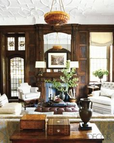 The WALLS! Love Oak paneling.   Unexpected Interiors: Modern English-Tudor Style