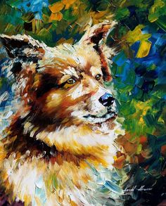 """Brown Dog"" by Leonid Afremov ___________________________ Click on the image to buy this painting ___________________________ #art #painting #afremov #wallart #walldecor #fineart #beautiful #homedecor #design"
